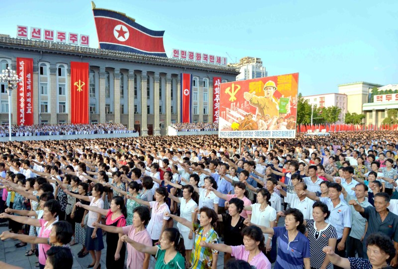 People participate in a Pyongyang city mass rally held at Kim Il Sung Square on August 9, 2017, to fully support the statement of the Democratic People's Republic of Korea (DPRK) government in this photo released on August 10, 2017 by North Korea's Korean Central News Agency (KCNA) in Pyongyang. Credit: KCNA/via Reuters