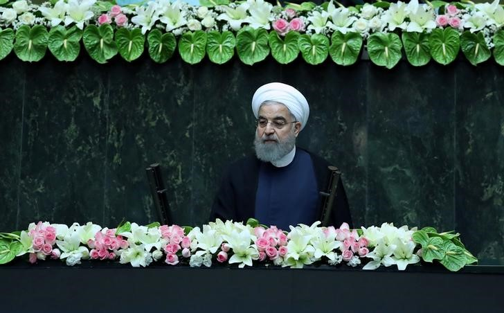 Iranian president Hassan Rouhani attends his swearing-in ceremony for a further term, at the parliament in Tehran, Iran, August 5, 2017. Credit: President.ir/Handout via Reuters