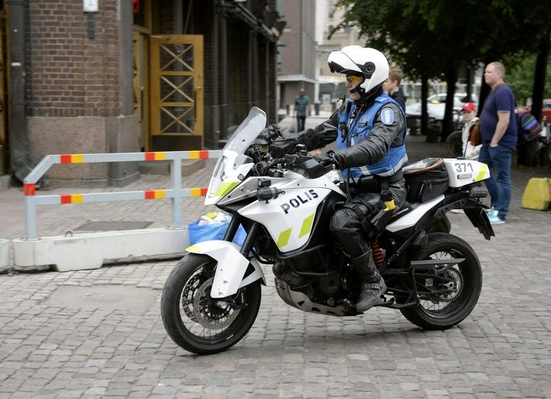 Finnish police patrols on motorbike after stabbings in Turku, in Central Helsinki, Finland August 18, 2017. Credit: LEHTIKUVA/Linda Manner via Reuters
