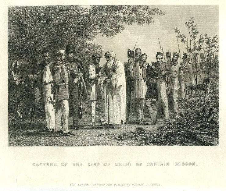 """""""Capture of the King of Delhi by Captain Hodson"""", steel engraving. Captain William Hodson captured Bahadur Shah II on 20 September 1857 during the Sepoy Mutiny. Credit: Wikimedia"""