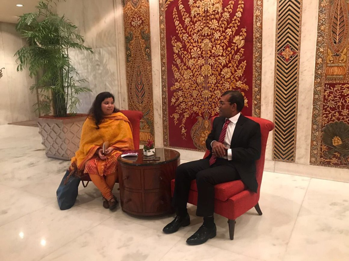 Devirupa Mitra and Mohamed Nasheed. Credit: Twitter/@MDPYouth