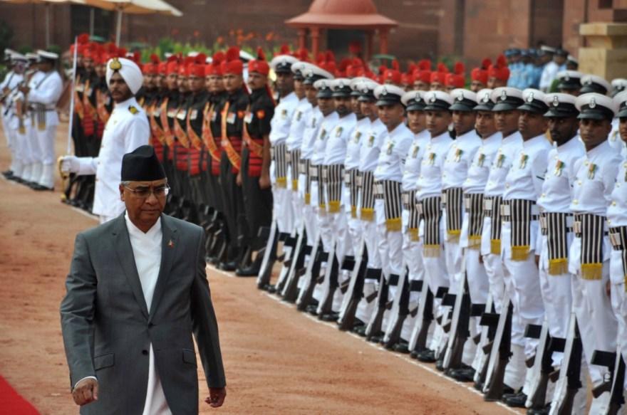Nepal's Prime Minister Sher Bahadur Dueba being welcomed at the Rashtrapati Bhavan. Credit: Twitter/@MEAIndia
