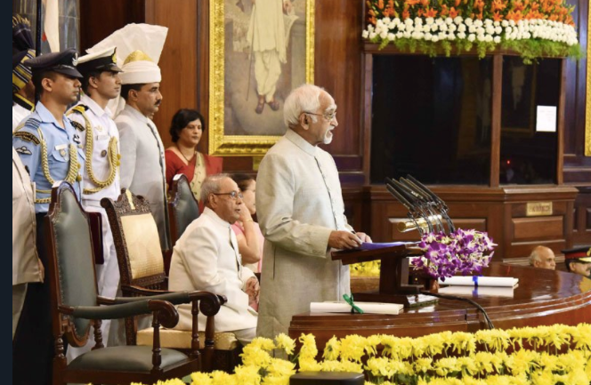 Hamid Ansari giving a farewell speech for Pranab Mukherjee. Credit: PIB/Twitter