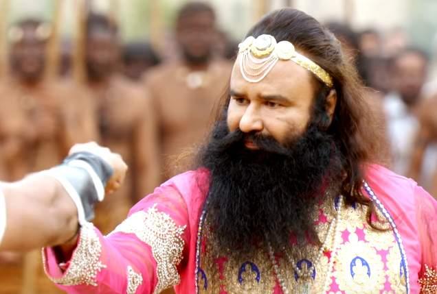 Gurmeet Ram Rahim Singh in a still from <em>MSG 2</em>.