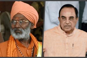 BJP leaders Sakshi Maharaj and Subramanian Swamy. Credit: PTI