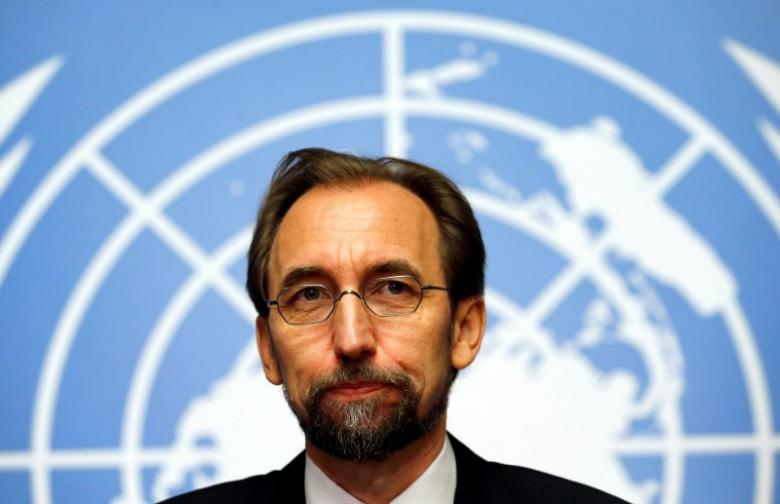 Jordan's Prince Zeid Ra'ad Zeid al-Hussein, U.N. High Commissioner for Human Rights pauses during a news conference at the United Nations European headquarters in Geneva October 16, 2014. Credit:Reuters