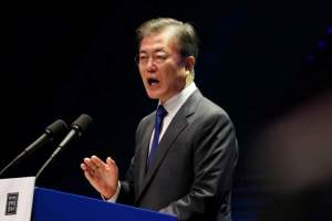 South Korean President Moon Jae-In, delivers a speech during celebrations of the 72th anniversary of Korea's Independence Day from Japanese colonial rule in 1945 in Seoul, South Korea, August 15, 2017. Credit: Reuters/Jeon Heon-Kyun/Pool/Files
