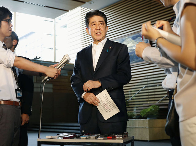 Japanese Prime Minister Shinzo Abe speaks to reporters about North Korea's missile launch in Tokyo, Japan in this photo taken by Kyodo on August 29, 2017. Credit:Reuters