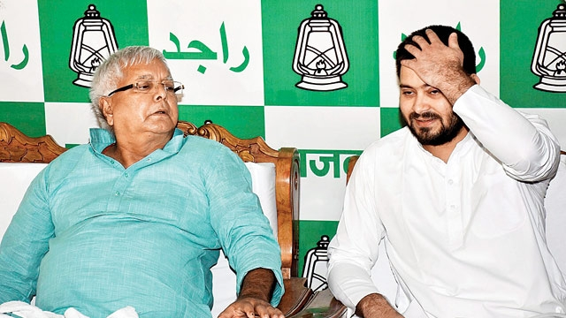 Lalu Prasad Yadav and Tejashwi Yadav. Credit: PTI/Files