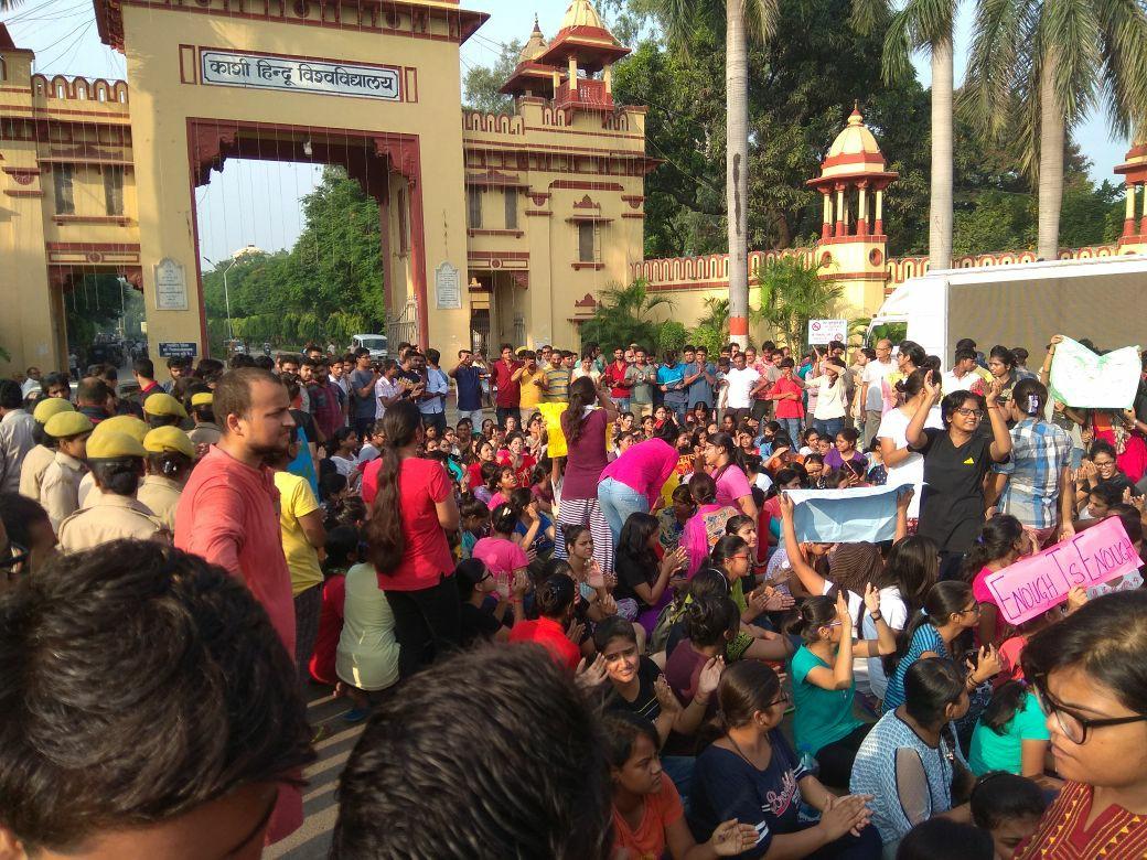 Students protesting at the Banaras Hindu University gate on Friday. Credit: Facebook/Siddhant Mohan