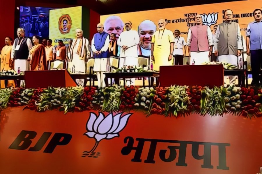 Prime Minister Narendra Modi, BJP president Amit Shah and other senior leaders at the partys national executive meeting in New Delhi on Monday. Credit: PTI