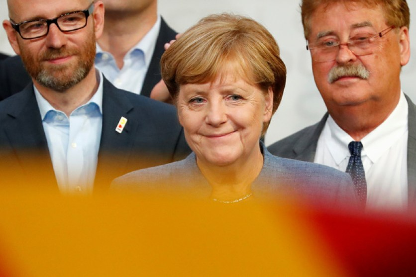 Christian Democratic Union CDU party leader and German Chancellor Angela Merkel reacts after winning the German general election (Bundestagswahl) in Berlin, Germany, September 24, 2017. Credit: Reuters