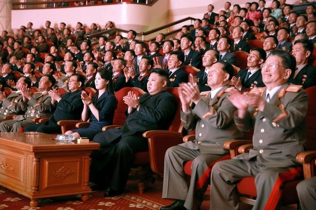 North Korean leader Kim Jong Un claps during a celebration for nuclear scientists and engineers who contributed to a hydrogen bomb test, in this undated photo released by North Korea's Korean Central News Agency (KCNA) in Pyongyang on September 10, 2017. Credit: Reuters