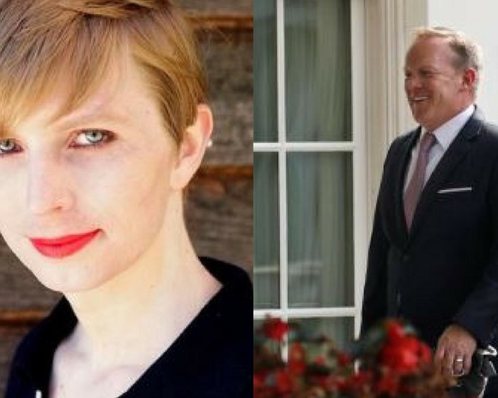 Chelsea Manning poses in a photo of herself for the first time since she was released from prison and post to social media on May 18, 2017. Chelsea Manning/CC BY-SA/Handout Credit: Reuters. Outgoing White House Press Secretary Sean Spicer smiles as he walks into the White House in Washington, U.S., July 21, 2017. Credit: Reuters/Carlos Barria/Files