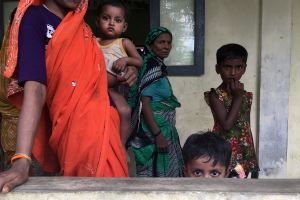 FILE PHOTO: A Hindu family is seen at a shelter near Maungdaw, Rakhine State, Myanmar September 12, 2017. Credit: Reuters/Stringer/File Photo