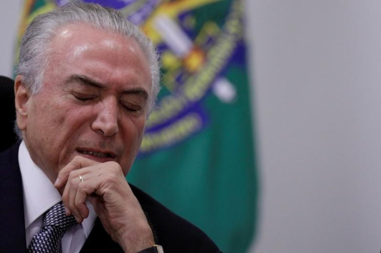 Brazil's President Michel Temer reacts during a meeting with government leaders of the Brazilian federal senate, at the Planalto Palace in Brasilia, Brazil May 9, 2017. Credit: Reuters