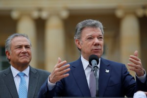 Colombia's President Juan Manuel Santos speaks during the presentation of the popemobile that will be used to transport Pope Francis during his next visit in Bogota, Colombia August 28, 2017. Credit:Reuters