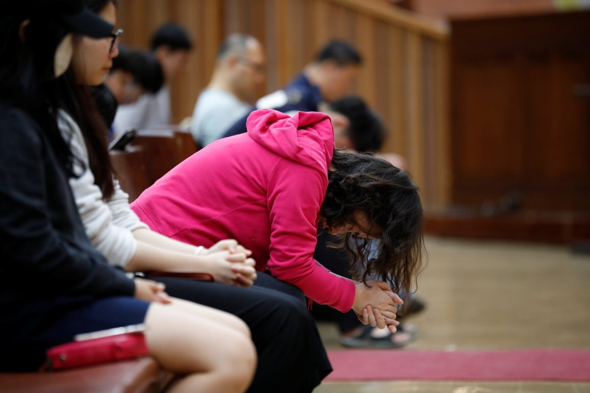 Students pray during an early-morning prayer session at the Presbyterian University and Theological Seminary (PUTS) in Seoul, South Korea, September 12, 2017. Picture taken on September 12, 2017. Credit: Reuters/Kim Hong-Ji