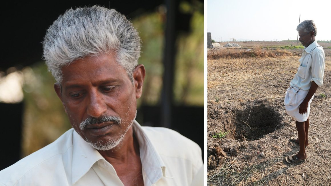 G. Sreeramulu stands next to one of six failed borewells on his six acres of farmland.