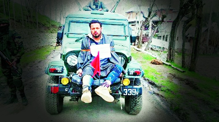 Farooq Ahmad Dar tied to an army jeep on April 9. Credit: Video screengrab