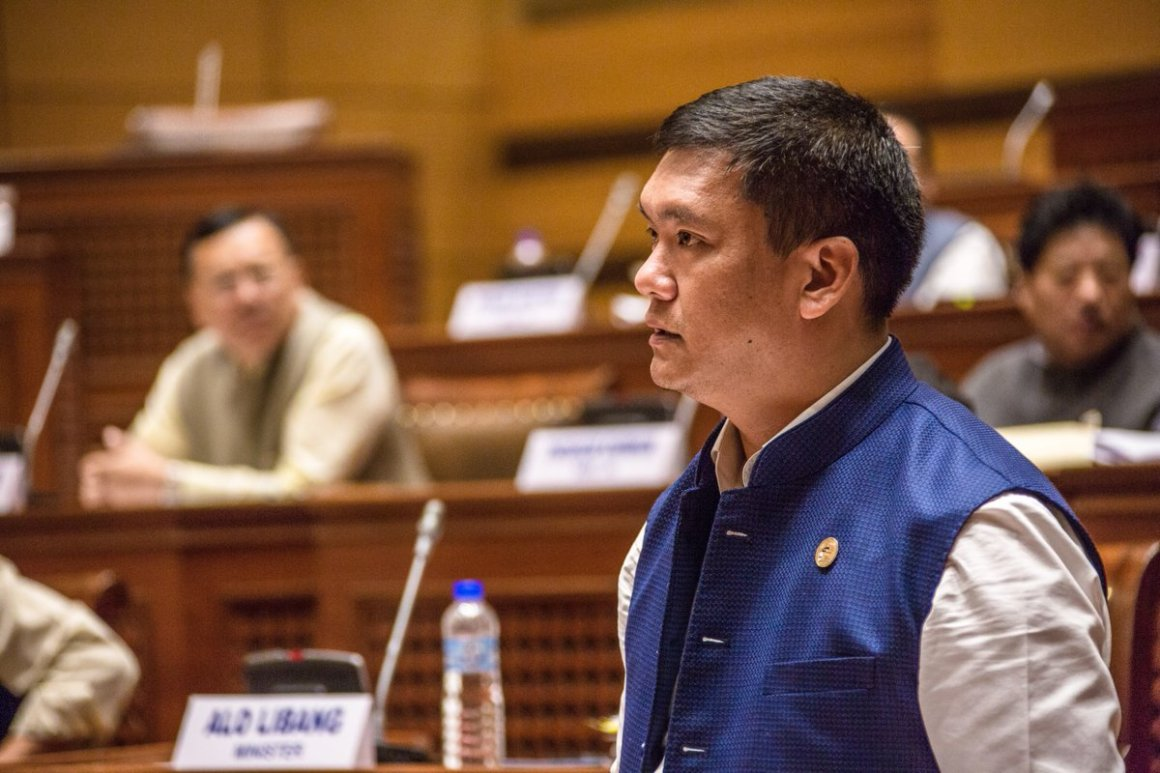 Arunachal Pradesh chief minister Pema Khandu speaking at the assembly seeking adoption of a resolution to have a separate AIS cadre for the state