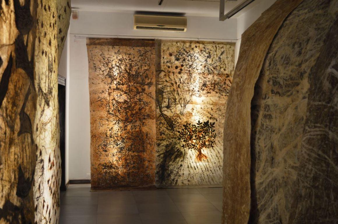 Jayashree Chakravarty's installation using scrolls.