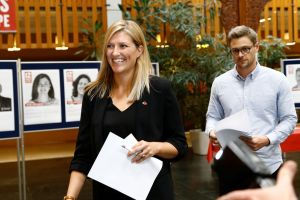 Beatrice Fihn, executive director of the International Campaign to Abolish Nuclear Weapons (ICAN), and Daniel Hogsta, coordinator, arrive to a news conference after ICAN won the Nobel Peace Prize 2017, in Geneva, Switzerland October 6, 2017. Credit: Reuters/Denis Balibouse