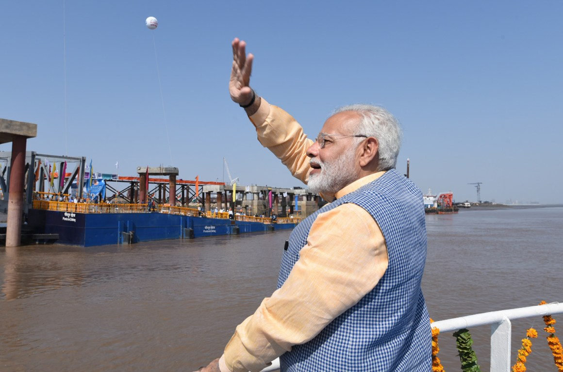 Prime Minister Narendra Modi on the maiden voyage of Ro-Ro Ferry Service between Ghogha and Dahej, in Gujarat on October 22, 2017. Credit: PIB