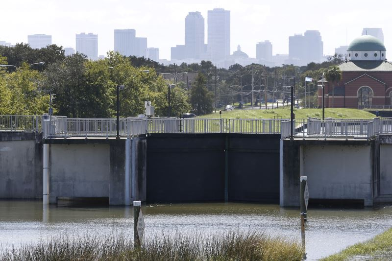 The end of the London Avenue pump station is seen with the city skyline in the background as the city prepares for tropical storm Nate in New Orleans, Louisiana, U.S., October 6, 2017. Credit: Reuters/Jonathan Bachman