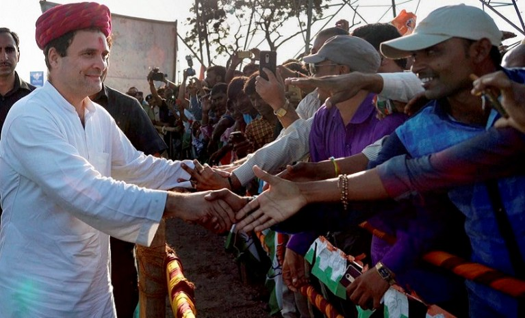 Congress vice president Rahul Gandhi meeting the supporters during his visit to Gujarat. Credit: PTI