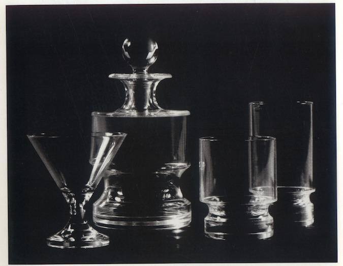 Liquor glasses and decanter for Alembic Glass, Baroda, 1970. Credit: Dashrath Patel Archive, Ahmedabad