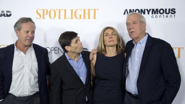 """Boston Globe journalists, upon whom the movie is based, Ben Bradlee Jr, Mike Rezendes, Sacha Pfeiffer and Walter """"Robby"""" Robinson attended a special screening of Spotlight in Los Angeles. Credit: Reuters"""