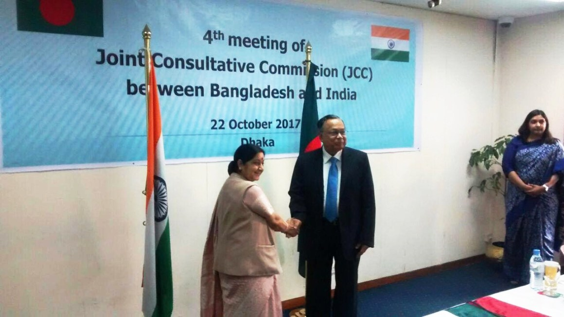 Sushma Swaraj o-chaired 4th JCC Meeting & reviewed various aspects of bilateral relations. Credit: Twitter/ihcdhaka