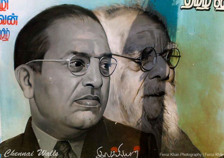 The faces of B.R. Ambedkar and Periyar on a wall in Chennai. Credit: ferozfoto/Flickr, CC BY-NC-SA 2.0