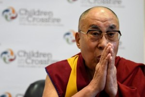 Tibetan spiritual leader the Dalai Lama, Patron of Children in Crossfire, gestures during a press conference in Londonderry, Northern Ireland September 11, 2017. Credit: Reuters