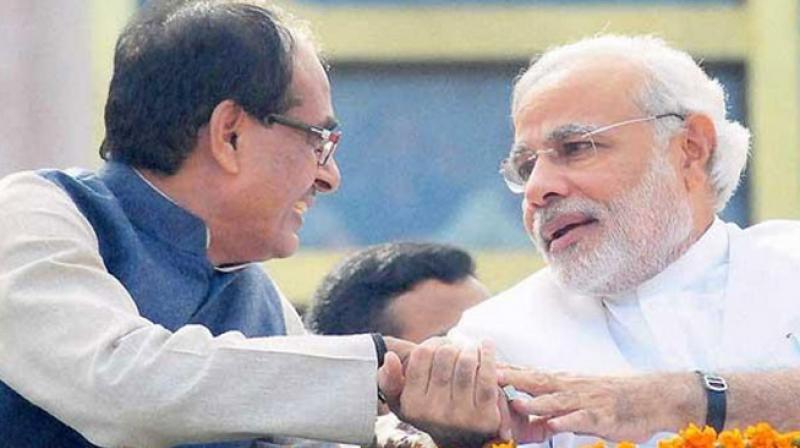 Shivraj Chouhan with Narendra Modi