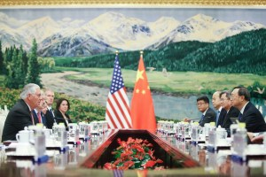 U.S. Secretary of State Rex Tillerson (L) meeting with Chinese State Councilor Yang Jiechi (R) at the Great Hall of the People on September 30, 2017 in Beijing, China. Credit: The Author