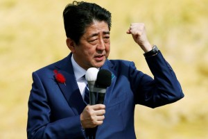Japan's Prime Minister Shinzo Abe, who is also ruling Liberal Democratic Party leader, attends an election campaign rally in Fukushima, Japan, October 10, 2017. Credit: Reuters