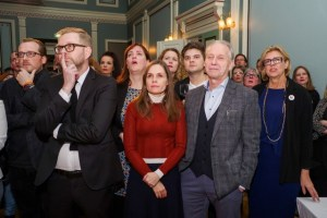 The Independence Party members and supporters react as they watch the first results of the snap parliamentary election in Reykjavik, Iceland October 28, 2017. Credit: Reuters