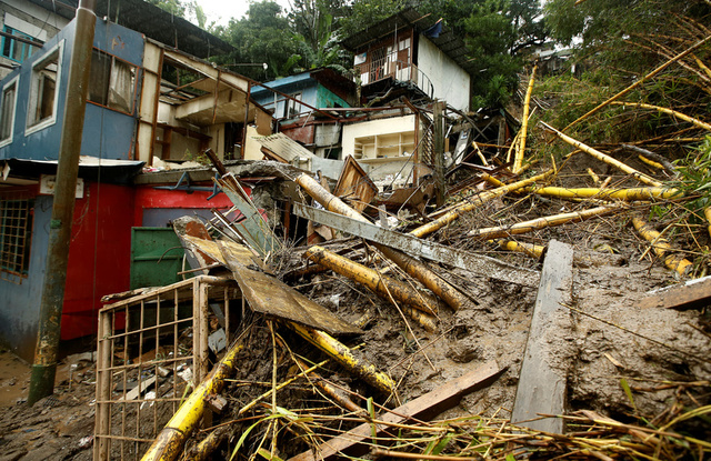 Houses damaged by a mudslide are seen during heavy rains of Tropical Storm Nate that affects the country in San Jose, Costa Rica October 5, 2017. Credit: Reuters