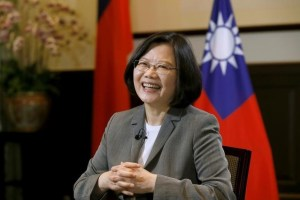 Taiwan President Tsai Ing-wen smiles during an interview with Reuters at the Presidential Office in Taipei, Taiwan April 27, 2017. Credit: Reuters