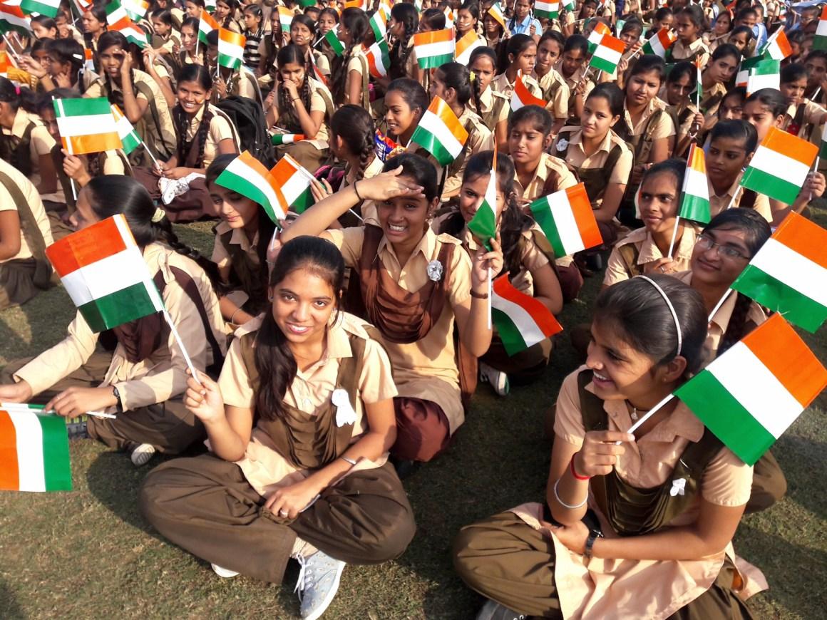 Ashoka Chakra was missing from the flags distributed among the participants. Credit: Shruti Jain