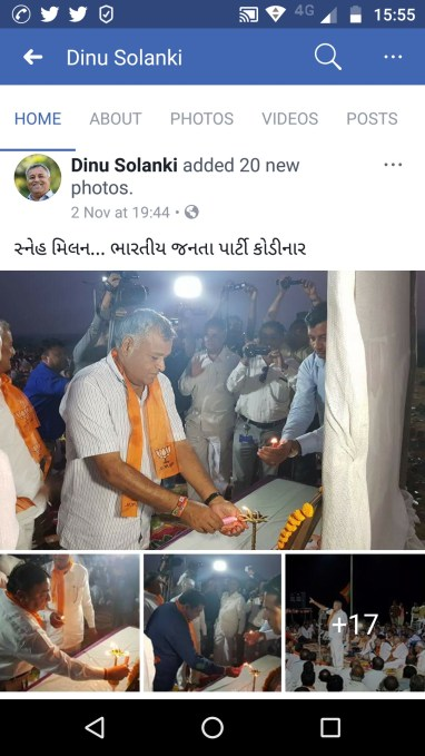 Solanki shared images of himself at a BJP event on November 2, two days after he was asked to surrender. Credit: Facebook screenshot