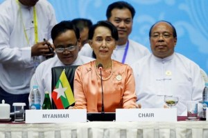 Myanmar State Counselor Aung San Suu Kyi attends the 13th Asia Europe Foreign Ministers Meeting (ASEM) in Naypyitaw, Myanmar, November 20, 2017. Credit: Reuters/Stringer