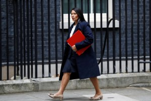 Priti Patel, Britain's Secretary of State for International Development arrives in Downing Street, in London, October 31, 2017. Credit: Reuters/Peter Nicholls/Files