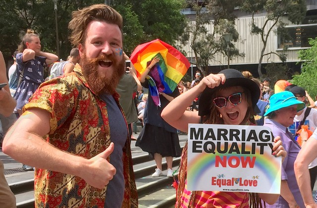 Supporters of the 'Yes' vote react as they celebrate after it was announced the majority of Australians support same-sex marriage in a national survey, paving the way for legislation to make the country the 26th nation to formalise the unions by the end of the year, at a rally in central Melbourne, Australia, November 15, 2017. Credit: Reuters/Melanie Burton