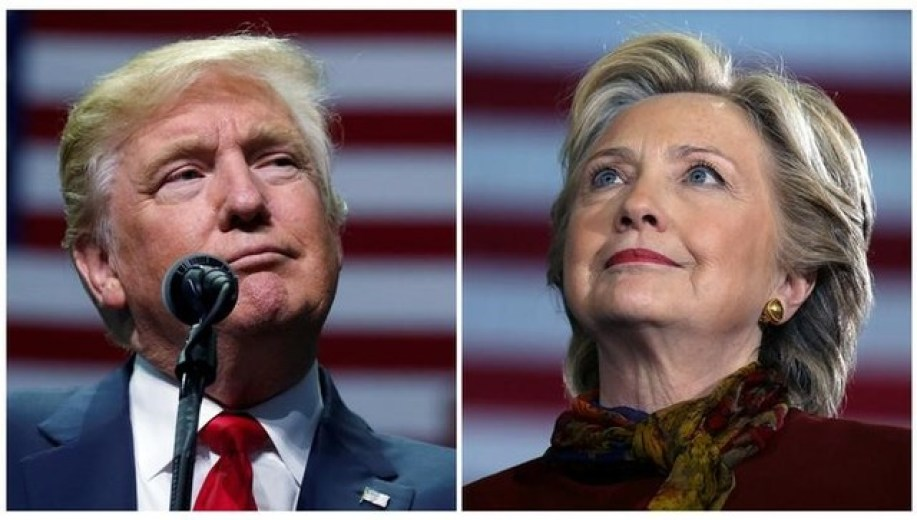US presidential candidates Donald Trump and Hillary Clinton attend campaign events in Hershey, Pennsylvania, November 4, 2016 (L) and Pittsburgh, Pennsylvania, October 22, 2016 in a combination of file photos. Credit: Reuters/Carlo Allegri/Carlos Barria/Files
