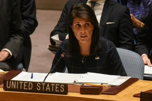 FILE PHOTO: US Ambassador to the UN, Nikki Haley, delivers remarks during a United Nations Security Council meeting on North Korea in New York City, US, September 11, 2017. Credit: Reuters/Stephanie Keith/Files