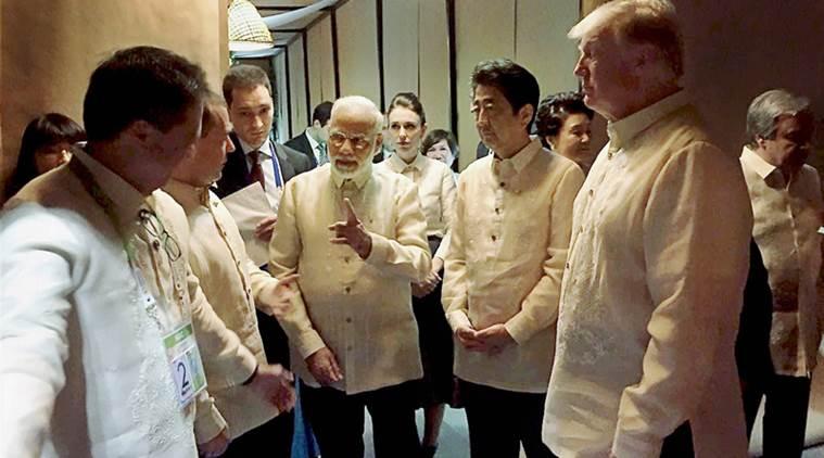 Narendra Modi, Shinzo Abe and Donald Trump