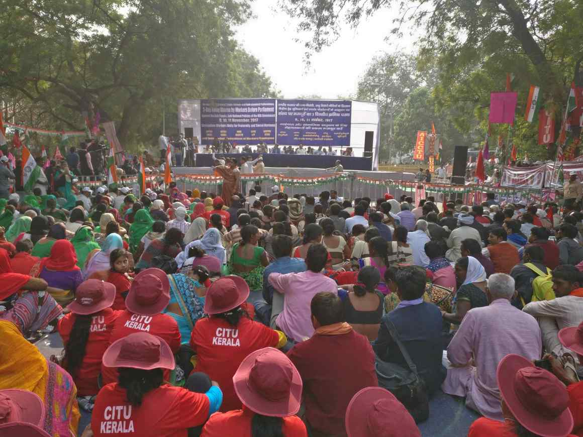 Site of the worker's protest in Delhi. Credit: Ajoy Ashirwad Mahaprashasta/The Wire